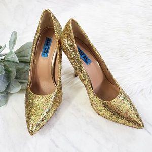 Penny Sue Gold Glitter Pointy Stiletto Heels